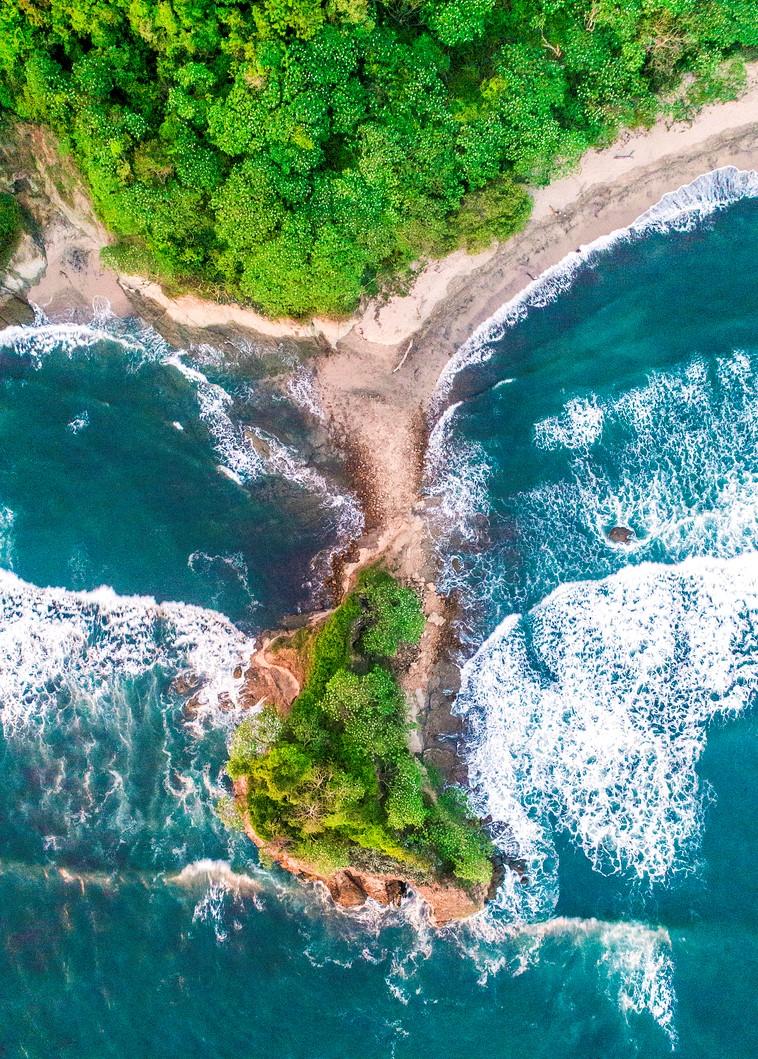 Vue aérienne de la côte du Costa Rica